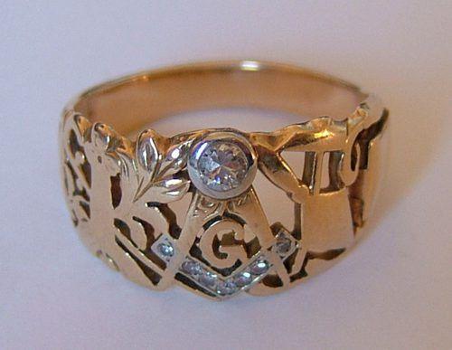 Antiques Atlas - 14CT Gold Diamond Set Masonic Ring