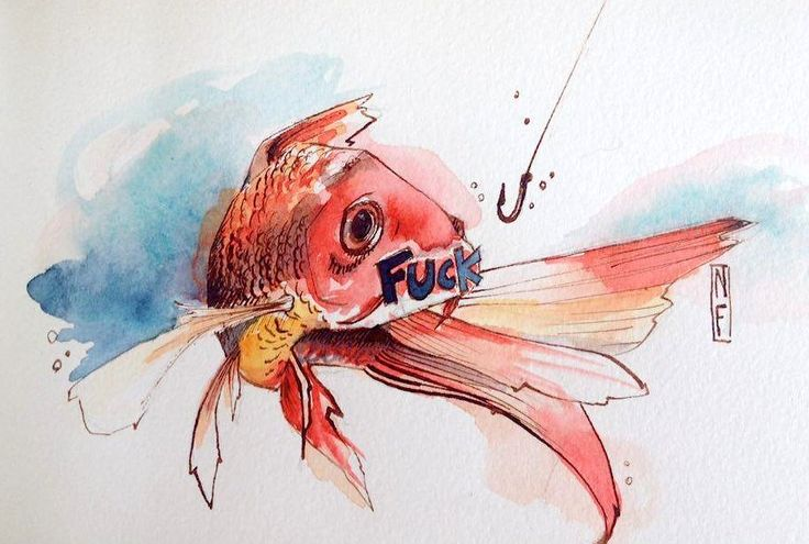 """Fish""  Watercolor on paper"