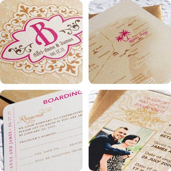 Wedding Invitations For Destination Wedding: Vintage Monogram Passport Destination Wedding Invitation