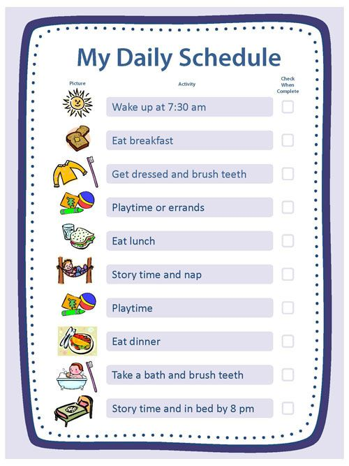 kids daily schedule chart