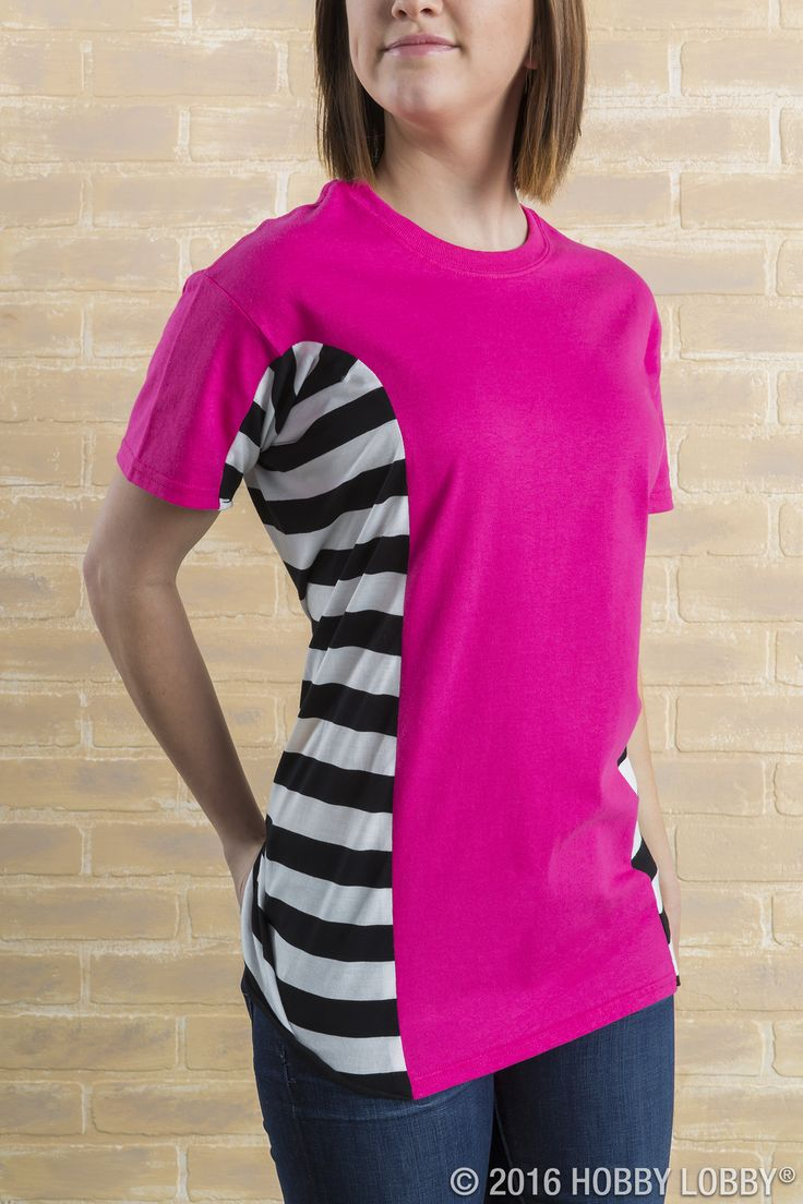 Upgrade your t-shirts! Cut out the sides of a tee, and sew a piece of the scarf to each side.