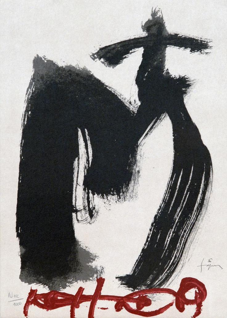 ANTONI TÀPIES    M, ojos y cruz litografia.