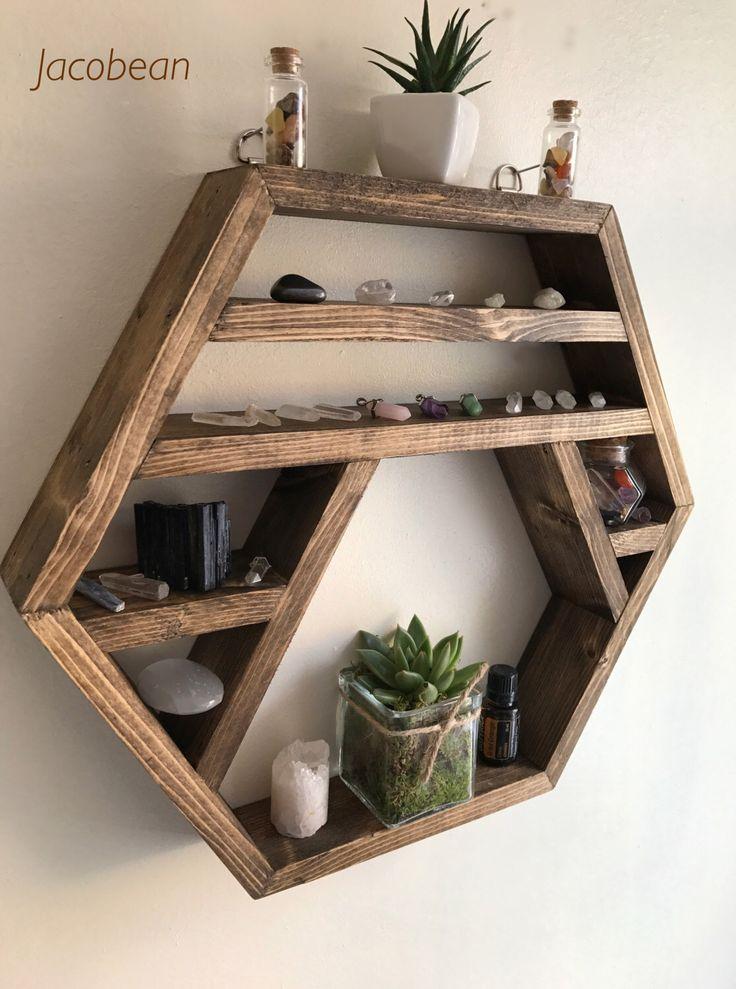 Large Crystal display shelf, hexagon shelf, display shelf, crystals, gems shelf, reiki, moon phase, chakra by Lovelifewood on Etsy https://www.etsy.com/listing/457685416/large-crystal-display-shelf-hexagon