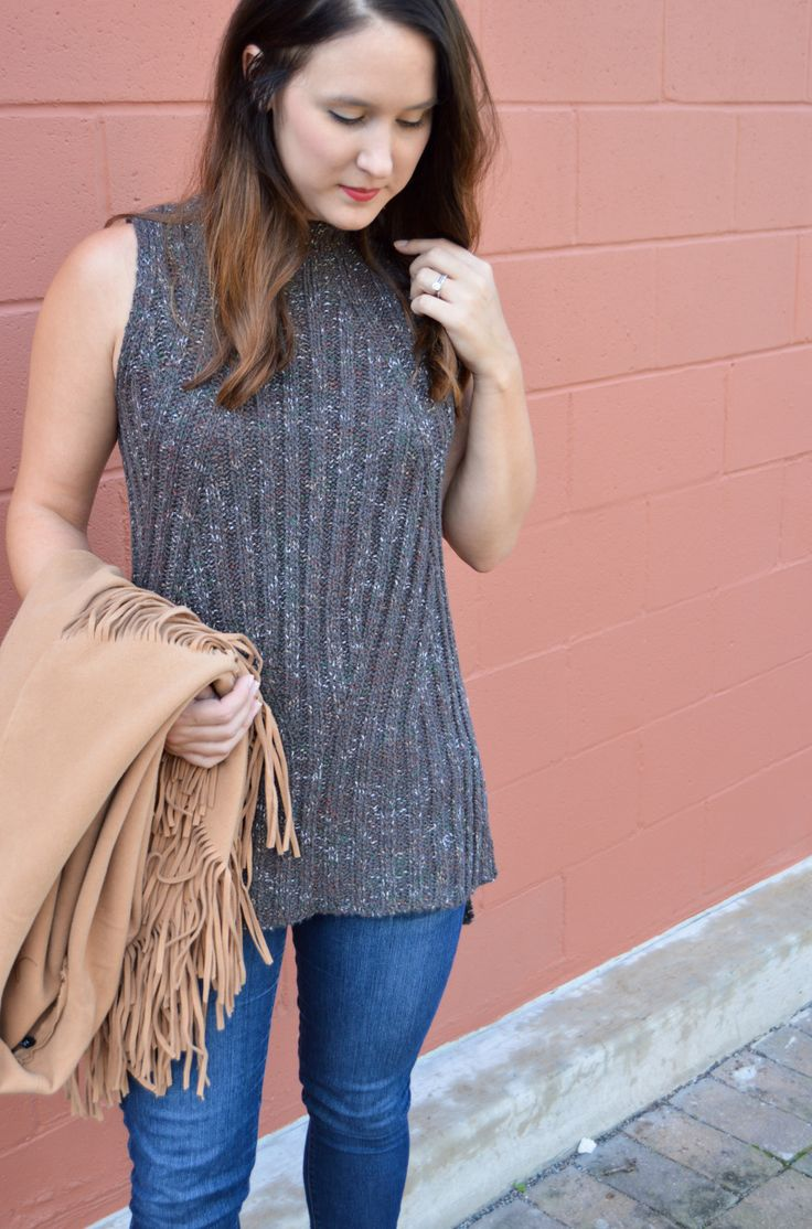 sleeveless sweater - Target style - fall fashion - ootd - fringe jacket - layers - fall outfits - casual style - outfit ideas - womens fashion - Agnes Wright Blog