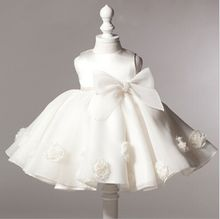 New 2016 baby girl dress vintage baby Christening dresses rose big bow girl party dress kids christmas clothing baby clothes(China (Mainland))