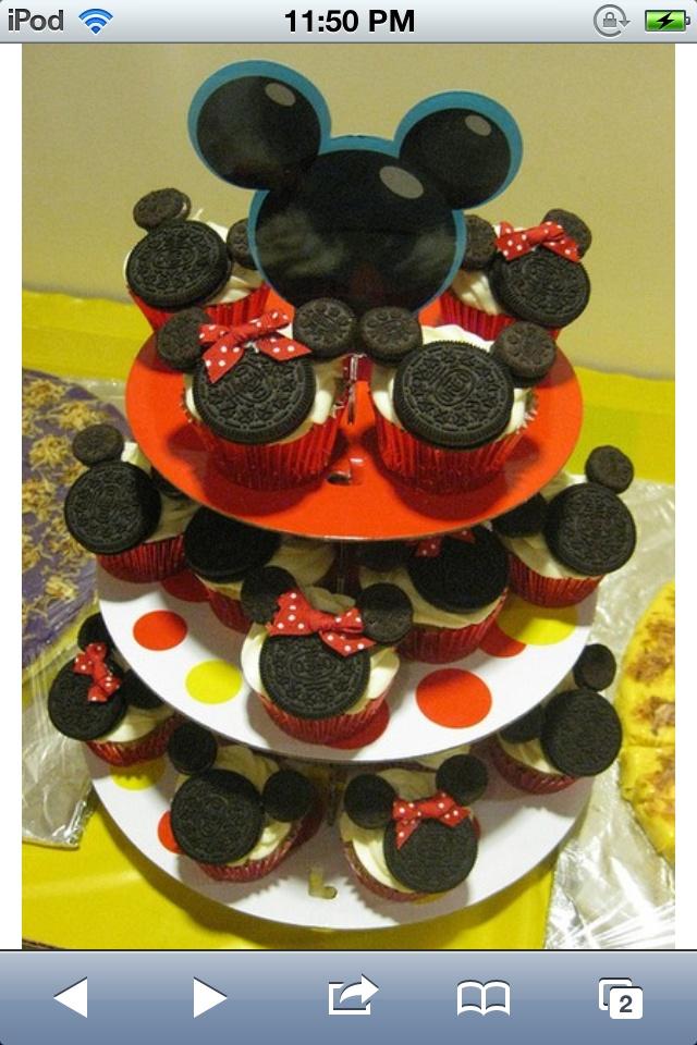 Oreos for micky mouse cakes, soooo easy!  Walts 2nd birthday ...
