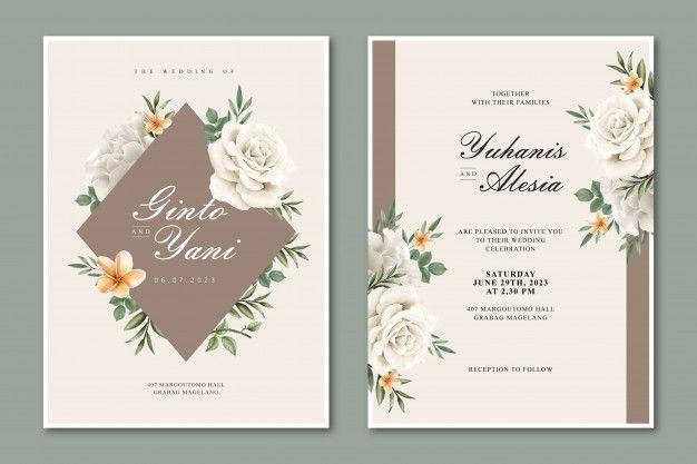 Elegantnaya Svadebnaya Otkrytka S Mnogocelevoj Cvetochnoj Ramkoj Wedding Cards Flower Wedding Invitation Elegant Wedding