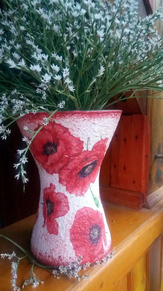 Poppy decor decoupage vase with special shiny rough surface.