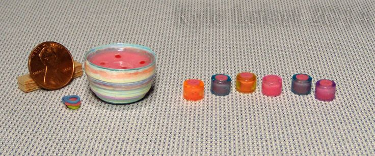 Dollhouse Miniature Punch Bowl Set - Artisan Handmade - Colorful Party Punch #KyleLefort