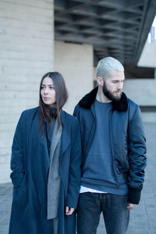 J'aime tout chez toi - Matching French fashion couple - minimal style - Navy blue & grey