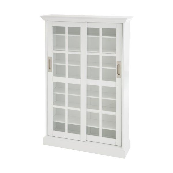 Sliding Door Multimedia Cabinet In White Media Storage Cabinet Media Cabinet Stylish Cabinet