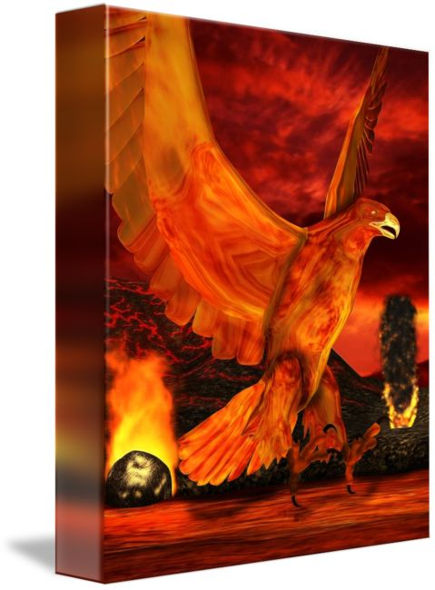"""Myth+Series++Phoenix+Fire""+by+Sharon+Sims,+Palm+Harbor+//+A+mythic+series+featuring+3+designs+Earth+(griffin),Wind+(roc)+and+Fire+(phoenix).+//+Imagekind.com+--+Buy+stunning+fine+art+prints,+framed+prints+and+canvas+prints+directly+from+independent+working+artists+and+photographers."
