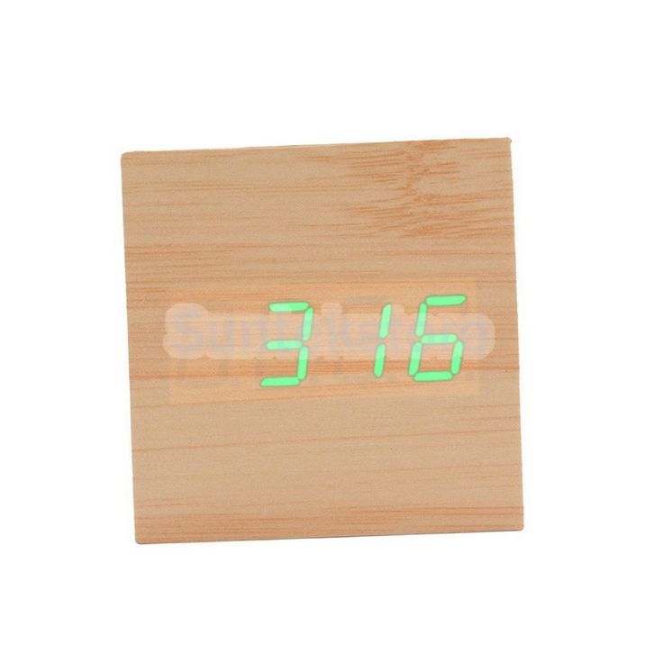 Green Led Travel Alarm Clock Sound Control Backlight Thermometer Natural