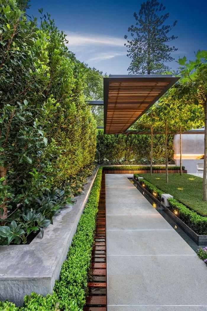 aménagement extérieur, allée de jardin et haie vivace ...