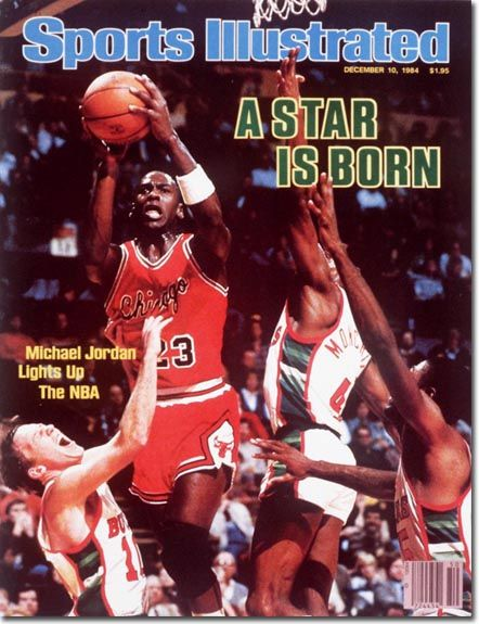 This is Michael Jordan on the sports illustrated cover. He is very talented and deserved to be on the cover. He shows that he loves basketball and knows that he is inspiring kids to strive for his lifelong goals. Being on the sports illustrated cover shows that he was very good. He wants to have kids and even NBA players to try.
