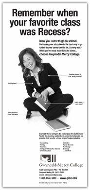 Design and copywriting for Display advertising in Philadelphia Magazine, Gwynedd-Mercy College, Gwynedd Valley, PA, Adult education