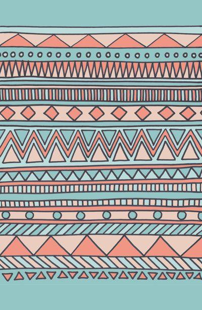 Tribal #4 (Coral/Aqua) Art Print by Haleyivers