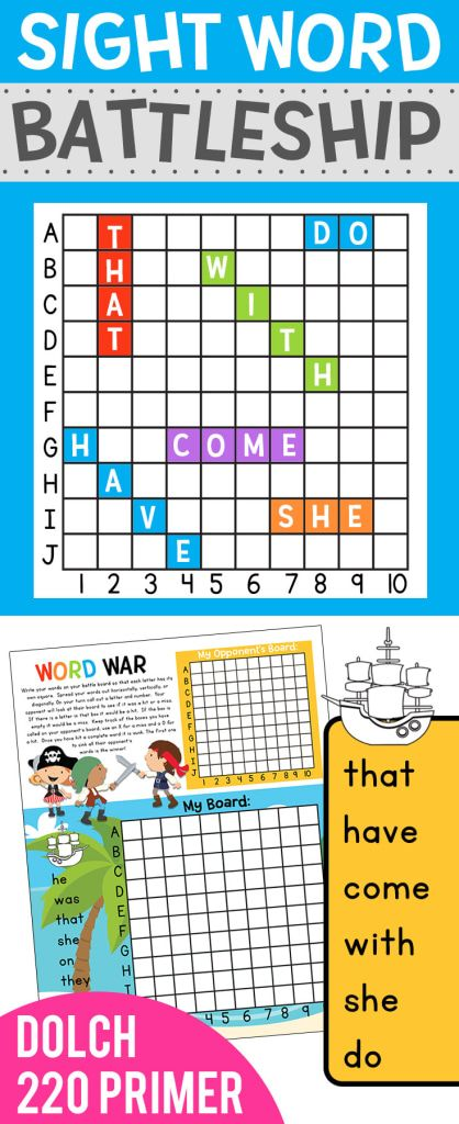 Can you think of a better way to learn your sight words?? Sight Word Battleship is a new fun no-prep game you can play with your students Students work on spelling, reading, and of course reading coordinates on a gird. https://www.teacherspayteachers.com/Product/Sight-Word-Battleship-Dolch-220-Primer-3661125?utm_campaign=coschedule&utm_source=pinterest&utm_medium=Preschool%20Kindergarten%20Mom&utm_content=Sight%20Word%20Battleship%3A%20Dolch%20220%20Primer