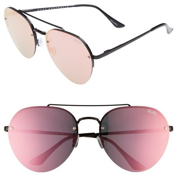 Women's Quay Australia Somerset 65Mm Aviator Sunglasses ($60) ❤ liked on Polyvore featuring accessories, eyewear, sunglasses, quay eyewear, rounded sunglasses, oversized aviator sunglasses, aviator sunglasses and quay glasses