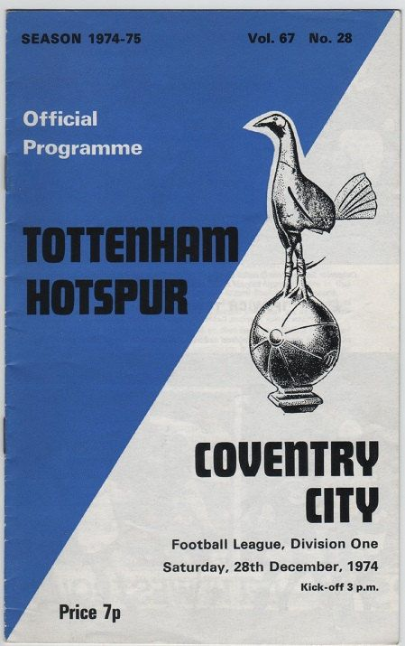 Vintage Football Programme - Tottenham Hotspur v Coventry City, 1974/75 season, by DakotabooVintage, £3.99