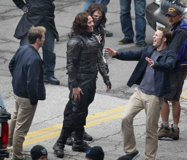 Chris Evans, Sebastian Stan, and their stunt doubles. Chris is too cute for this world!!!
