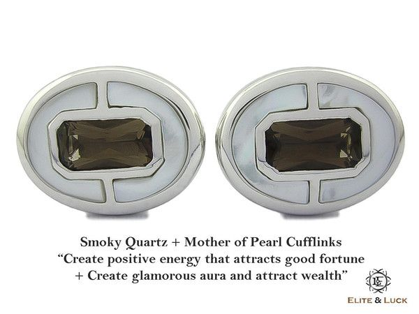 """Smoky Quartz + Mother of Pearl Sterling Silver Cufflinks, Rhodium plated, Prestige Model """"Create positive energy that attracts good fortune + Create glamorous aura and attract wealth"""" *** Combine 2 Gemstone Powers to double your LUCK ***"""