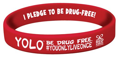 YOLO. Be Drug Free.™ Silicone Bracelets are great to wear with your friends during Red Ribbon Week  	   	Mesmerizing Red Ribbon Week silicone bracelet will keep you focused on this drug free message.   We have other great Red Ribbon Week items with this great theme, YOLO. Be Drug Free. Please check out more of our best selling Red Ribbon Week products.  	For quantities over 10,000...please call us at 1-800-962-6662 for pricing.  	   	Need to Customize this Product?  	CLICK HERE for a b...