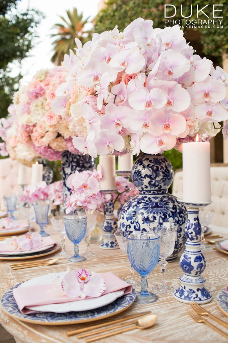 Check out all the lovely details featured in InStyle Magazine. | Pictured: Signature Collection China, Fleur de lis Charger, Gold Flatware, Czech Cut Crystal + Blue Goblet Trio. | Photo: Duke Photography | Furniture: Revelry Design | Florals: TickTock Florals // Casa de Perrin