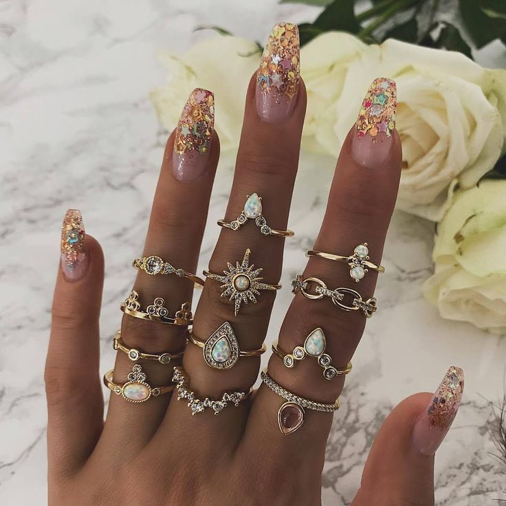 12pcs Gold Summer Goddess Rings Material: Alloy Shape: Crown Style: Vintage