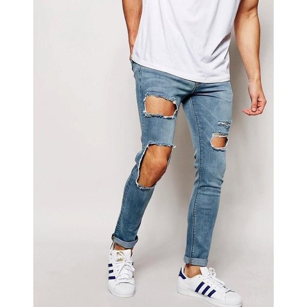 ASOS Super Skinny Jeans With Open Rips ($57) ❤ liked on Polyvore featuring  men's - Best 20+ Mens Distressed Skinny Jeans Ideas On Pinterest Mens