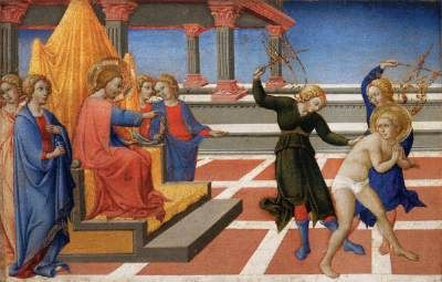 SANO di Pietro (b. 1406, Siena, d. 1481, Siena)   Click! Scenes from the Life of St Jerome  1444 Wood, 23 x 35 cm Musée du Louvre, Paris  Sano di Pietro followed the manner of his master, Sassetta. The predella of his altarpiece painted for the Jesuit convent of San Girolamo in Siena depicts scenes from the life of St Jerome. This altarpiece is Sano di Pietro's first known work.