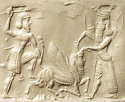 Gilgamesh  #Sumerian...5th King or Uruk, 2500bc. Ruled 126yrs. In the Epic of Gilgamesh he spoke with Utnapishtim the survivor of the great deluge. This scene looks like the ordeal with Enkidu and the holy bull.