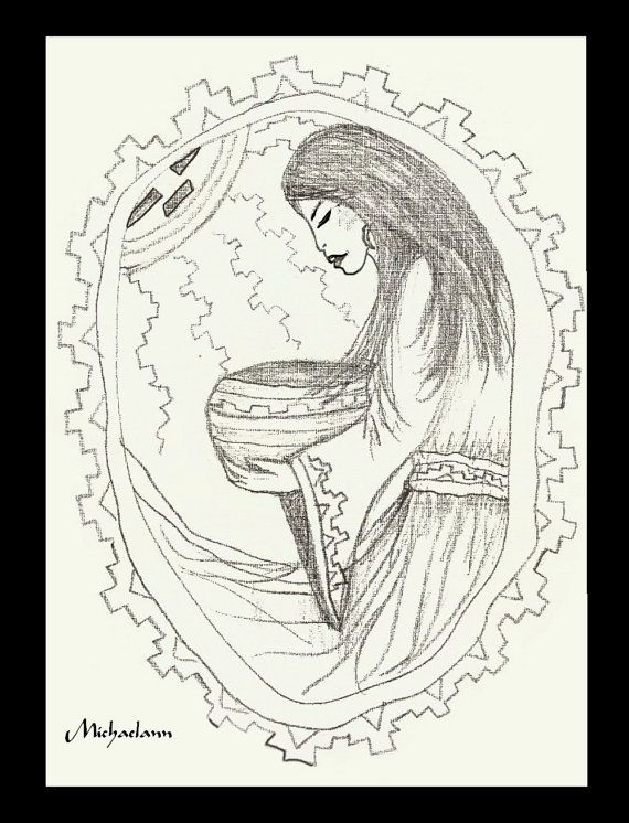 50¢ Coloring Page Adult Child Native American woman by ColorForFun INSTANT DOWNLOAD