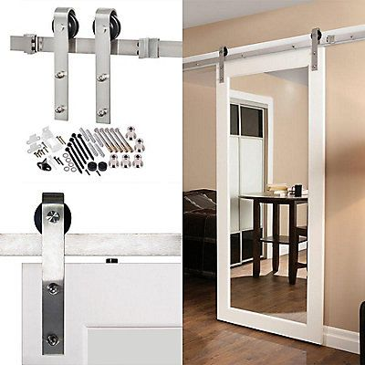 The Bent Strap Barn Door system features a classic face mount flat strap to hang wood doors on a traditional rail track. The large wheels provide excellent strength and durability as-well-as smoothness of travel along the track.