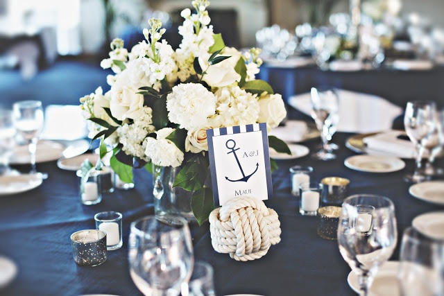 Nautical, Blue, White Green Wedding Flower Centerpiece by In Full Bloom by MJL