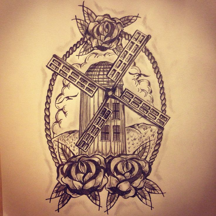 New traditional windmill tattoo sketch by - Ranz