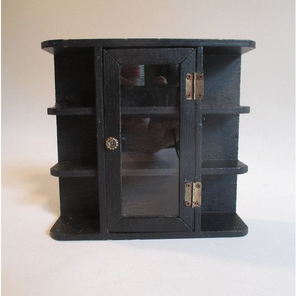 Small Display Case, Vintage Black Wooden Rustic Glass Front Side... ($10) ❤ liked on Polyvore featuring home, home decor, small item storage, wood home decor, wooden home decor, wooden home accessories, black home accessories and black home decor
