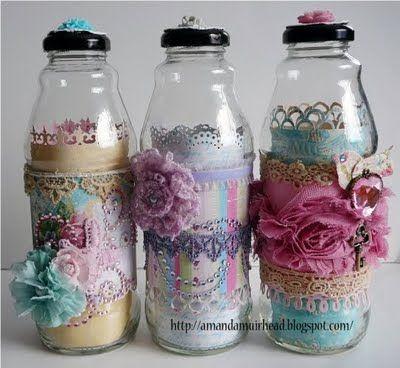 Altered bottles (a tea drink bottle) by Amanda Muirhead