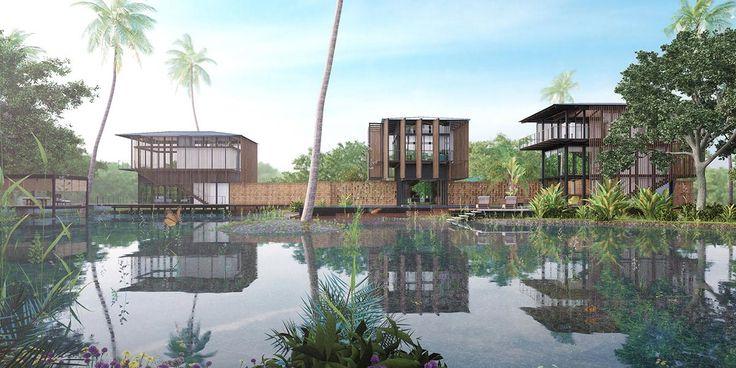 #Stilted pavilions on the edge of a pond   Waikiki #Wetland #Resort, Vengurla - Architecture BRIO, India   #indianarchitecture #ponds #architecture #rendering #sustainablearchitecture #tropicalarchitecture