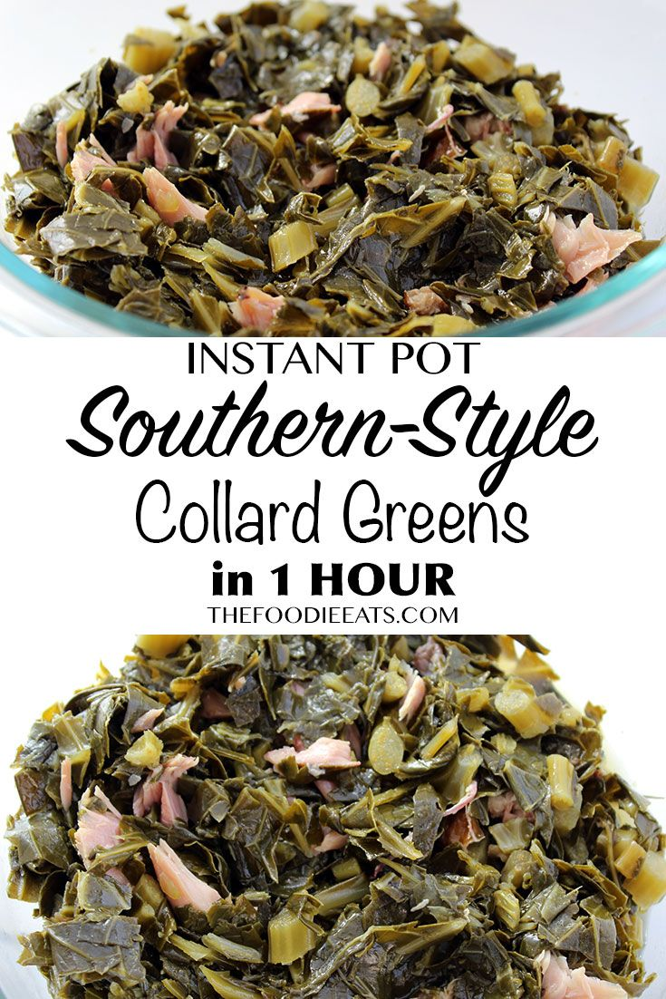 Instant Pot / Pressure Cooker Southern Style Collard Greens in One Hour with only 4 Ingredients! via @thefoodieeats