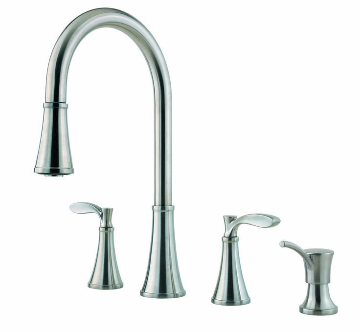 Pfister Petaluma 2 Handle Pull Down Kitchen Faucet With Soap Dispenser Stainless Steel