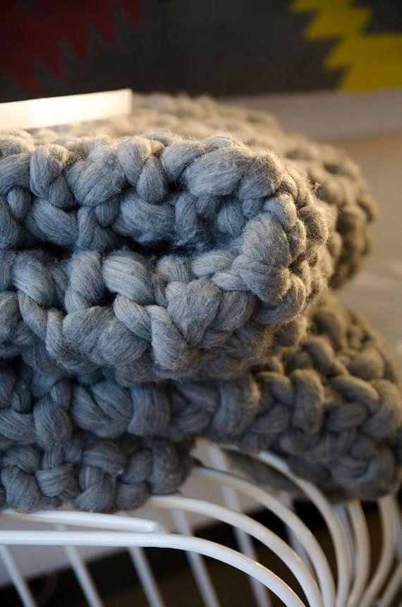 Super Chunky Merino Blanket  Chunky Grey Blanket by coolwoolstudio
