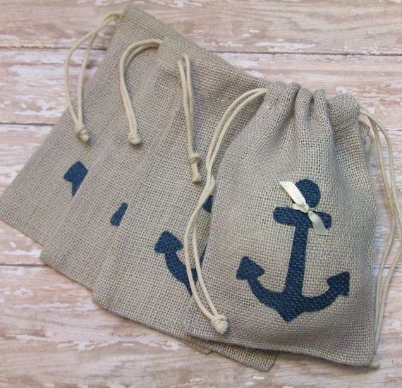 Burlap Wedding Favors or Gift Bags with Navy Blue Anchor. $16.00, via Etsy.