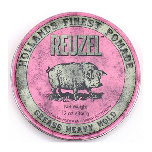 Reuzel Pink Heavy Grease, 12 Ounce:   Reuzel Pink Pomade is a wax and oil based pomade that creates a smooth, medium shine with heavy hold that completely transforms hair, making it easy to mold into any shape. Perfect heavy hold pomade for styling barber shop classics such as pompadours, quiffs, and contours, as well as the latest fashion textures, on hard to hold hair.