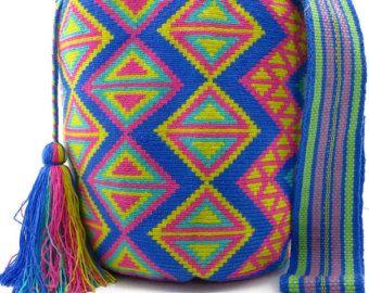 Royal Blue, Turquoise, Pink and Yellow Wayuu Mochila Bag