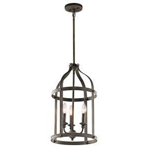 "Kichler Steeplechase 3-Light 13"" Indoor Lantern Pendants in Olde Bronze"
