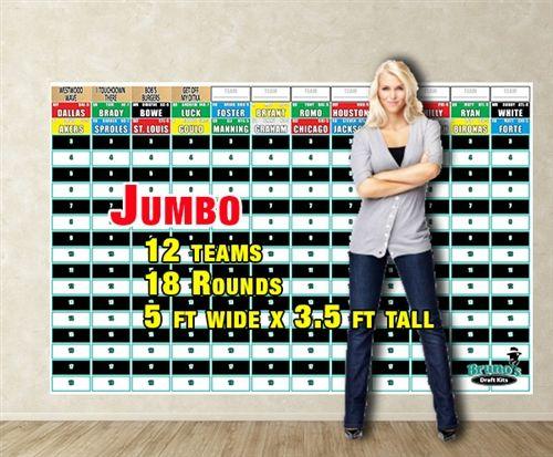 2015 Fantasy Football Draft Board - Jumbo & Draft Kit