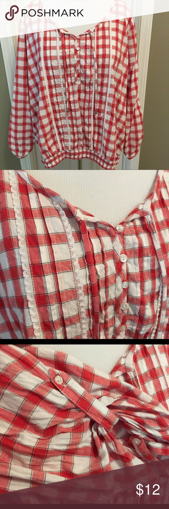 Plaid shirt - summer cute styling - denim ready  Red and white fresh plaid. Button, lace and tie accents. Sleeves can be worn down or rolled up. Ruched bottom makes for flattering styling. Tops