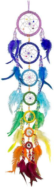 Seven Chakra Beaded Rings - Rainbow - Dreamcatcher, 24 in., $25
