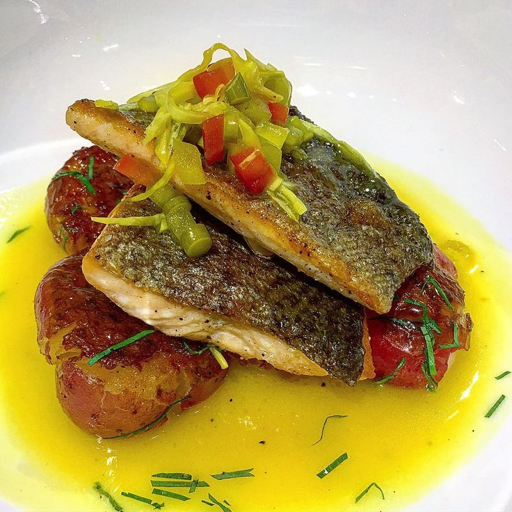 Tennessee Trout with Potatoes, Beurre Blanc, and Chow Chow prepared by Chef Matt Bolus of The 404 Kitchen. Click for recipe! #Trout #Fish #ChowChow #BeurreBlanc #NanoBond